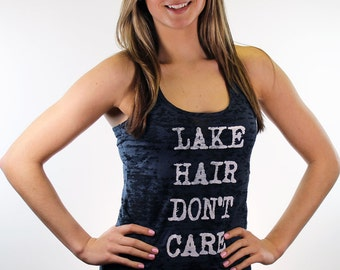 Workout tank top. Gym tank top. Womens tank top. Lake hair don't care burnout racerback tank top(available in 3 colors).
