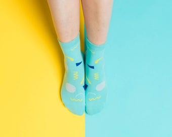 Friendly Socks | Hidden Face | Mint, Socken, Strümpfe, Gesicht, bunte Socken, Damenstrümpfe, Herrenstrümpfe, Unisex, Muster, lustig, bunt