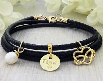 Leather bracelet for women - Leather name bracelet - Gift for women - Anniversary gift for women - Leather Anniversary for her - Bracelet