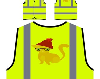 Hipster cat 01 Orange Safety Vest t948v