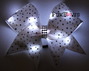 Amazing LED light up Cheer Glo Bow with Rhinestones !! An Original by FunBows !