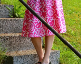 Pink Blossom A-line skirt, Semi Gatherd A-line Skirt, knee length, hip sizes 30-56 inches