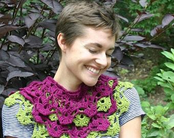 Crochet Pattern, Garden Terrace Infinity Scarf, Cowl, Collar, Lace