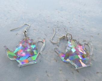 Teapot Earrings Hologram Design on Lazer Cut Acrylic Lightweight