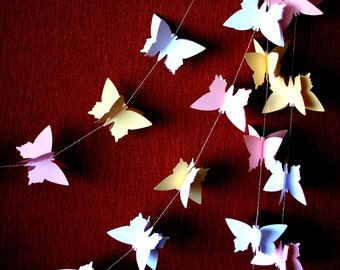 3D Butterfly GARLAND, Shabby chic wedding garland paper, Bridal shower decor, Paper butterfly garland backdrop, Party garland, Paper mobile