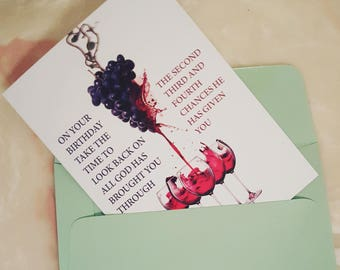 Grapes to Wine Birthday Card
