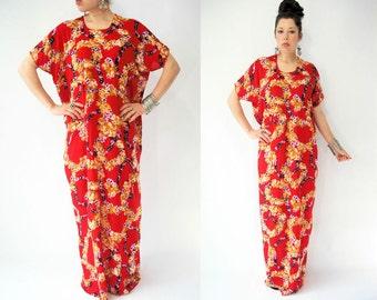 Vintage Vibrant Red Floral Print Draped Festival Caftan Dress / Long Maxi Length