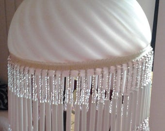 Vintage Glass Pinky Apricot Frosted Lampshade - Vintage with glass fringe