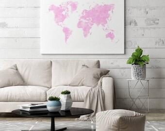 Pink World Map Canvas | Nursery Canvas Art Nursery | Nursery Canvas Wall Art Nursery | Nursery Canvas Decor Nursery | Pink Canvas Art