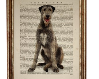 Wolfhound Print, Irish Wolfhound Gift Art, Irish Wolfhound Dog Art Print Upcycled Dictionary Book Page, Gift For Dog