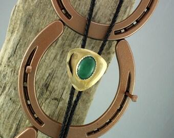Western Bolo Tie - Green Aventurine Bolo Tie - Cowboy Bolo Tie -  Brass Bolo Tie with a Natural Green Aventurine Stone