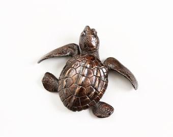 Turtle hatchling facing left Open Edition Bronze