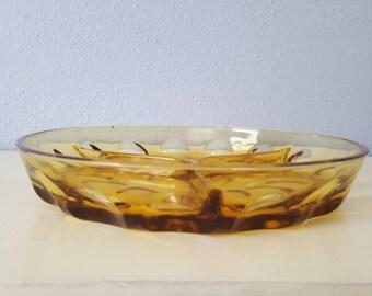 Vintage Kings Crown Royal Indiana glass thumb print divided tray.