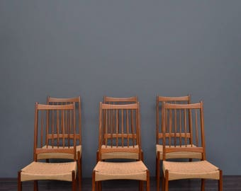 Set of 6 Vintage Mid Century Danish Teak & Cord Dining Chairs