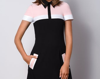 Chic black and pink dress with a collar POLO II