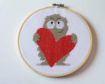 Love Monster Cross Stitch, Hoop Art, Heart