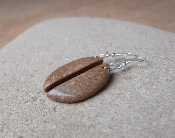Beach pebble earrings, natural stone jewelry, cut from one little rock - unique beach stone jewelry - brown beige