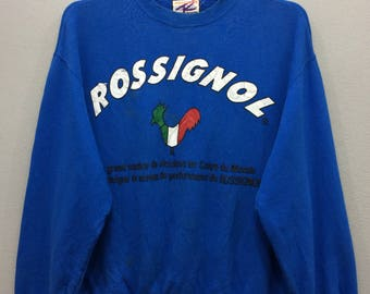 Rossignol Sweatshirt Long Sleeve Spell Out Big Logo Blue Color Streetwear Activewear Sport Clothing Unisex Adult iROB9W