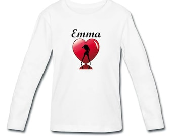 T-shirt girl long sleeve Silhouette girl in heart personalized with name