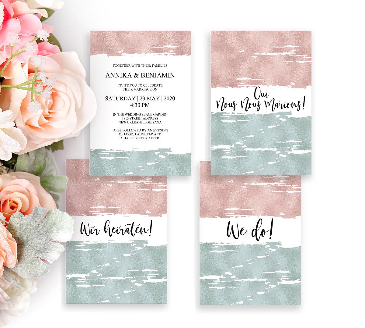Hochzeitseinladung, Digitale Vorlage, Editierbar, Moderne Einladung, DIY  Hochzeit, Hochzeitskarte, Einladungskarte, Sofort Download