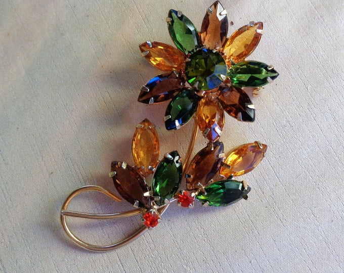 Featured listing image: Rhinestone Brooch Rhinestone Flower Rhinestone Jewelry Colorful Flower Pin Open Back Navettes Sparkling Vintage