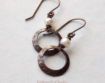 Small White Pearl Earrings with Copper Circle, Minimalist Jewelry, Simple Textured Metal Drop for Everyday, Handmade Rustic Copper Jewelry