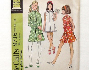 Vintage 1969 Girls' McCall's Dress or Pantdress Sewing Pattern #9716 - Size 10 (breast 28 1/2) - UNCUT Factory Folded