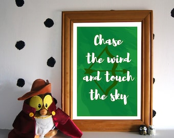 Merida Art Print - Chase the Wind and Touch the Sky - Disney Quote Print - Brave Art Print