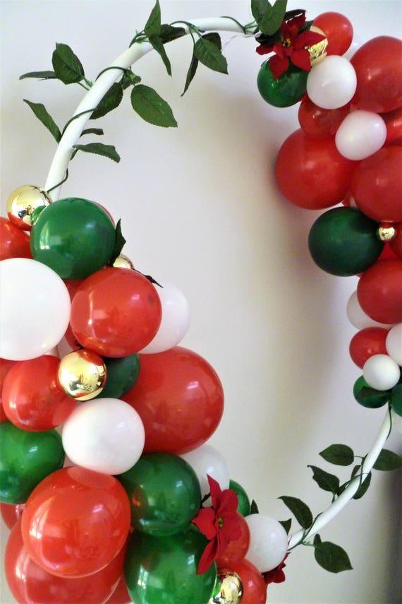 Christmas balloon frame garland wreath hula hoop diy kit red christmas balloon frame garland wreath hula hoop diy kit red green gold greenery do it yourself solutioingenieria Gallery