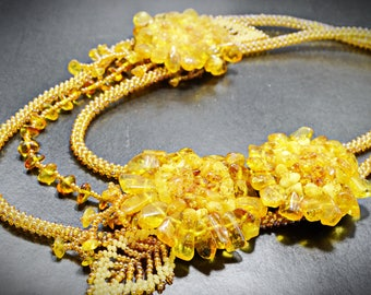 Yellow Amber Triple Strand Necklace Natural Baltic Amber Handmade Beaded Artisan Floral Statement Necklace Romantic Jewelry Mothers Day Gift