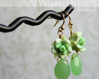 Green Rose and Briolette Drop Earrings