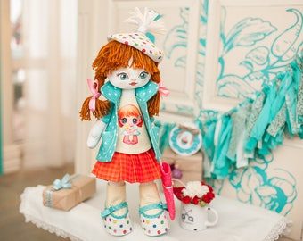 """Doll Making Kit, Set for sewing doll, Textile doll """"Birthday Girl"""", Set for textile doll, Handmade doll, Sewing kit"""