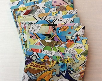 SpongeBob envelopes, Sponge Bob comic book envelopes, set of 6 or 12. Gift card envelopes.