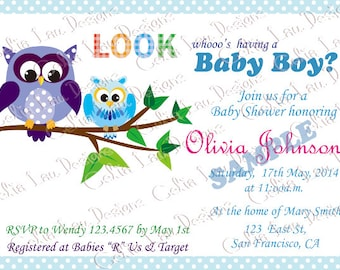 Baby Shower Invitation/ Owl Baby Shower Invitation/ Boy Baby Shower Invitation Invites  - Free Thank You Card - INSTANT DOWNLOAD