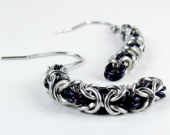 Black Long Byzantine - Chainmaille Earrings
