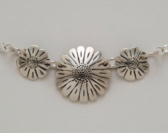 Dimes Silver Sunflowers Daisies Necklace made from 3 Vintage American Silver Coins
