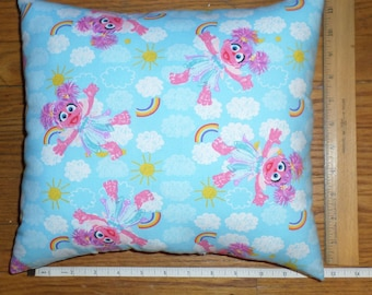 New Sesame Street *ABBY CADABBY* Small Decorative COTTON Fabric Pillow - Made in the U.S.A.