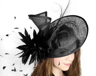 Adonis Black Fascinator Hat for Weddings, Races, and Special Events With Headband