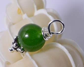Wire Wrapped Dangle Green Jade Round Bead 8 mm Gemstone Charm Beads