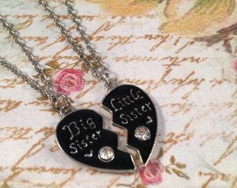 Big Sister Little Sister 2 Part Broken Heart Pendant Necklace