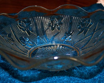 IRIS & HERRINGBONE 9-1/2 Inch Bowl by JEANNETTE Glass Co. - Crystal Color