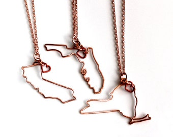 State Charm * State * State Jewelry * Map Jewelry * Map Necklace * State with Heart * State Art * State Maps * Map * State Necklace