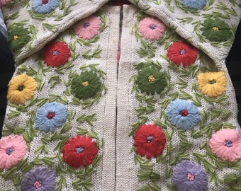 Amazing Vintage Ugly Easter Sweater~Cardigan~Wool~Flower Yarn Embroidery~Spring