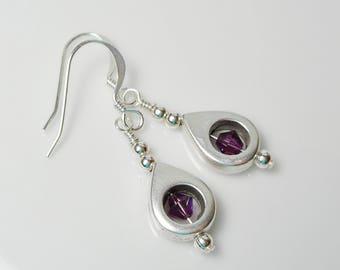 Swarovski Amethyst and Silver Teardrop Dangle Earrings