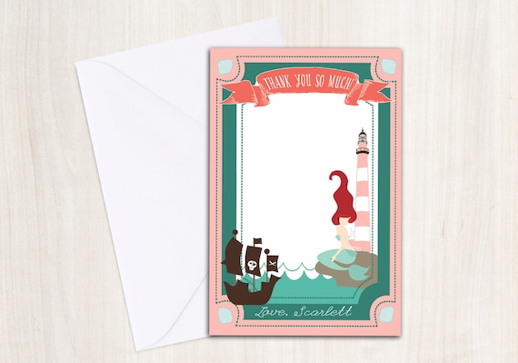 Mermaid & Pirate Thank You Note - Pool party thank you- under the sea - little mermaid - party supplies