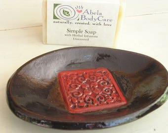 Natural Soap and Seagrove Pottery Soap Dish Set - Red Medallion