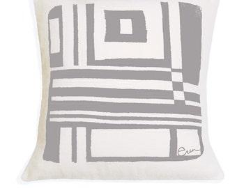 Decorative Pillow, Cushion, Abstract Geometric Design, 20x20, Silk Screened, Gray