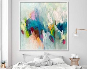 Gran pintura, impresión giclee de pintura acrílica abstracta, aqua turquesa femenino pared arte por Duealberi
