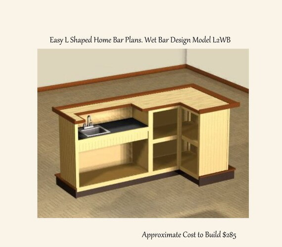 Easy to Build 4 x 8 foot L Shaped Home Bar Plans. Wet Bar Design ...