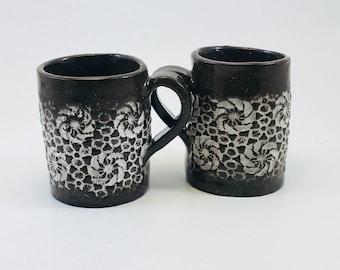 Hand built 2oz White Lace Espresso, sake, shot cup set, by Raquel Muslin